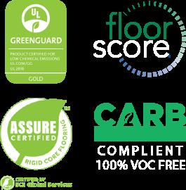 Assure, CARB, Floorscore and Greenguard certification logos