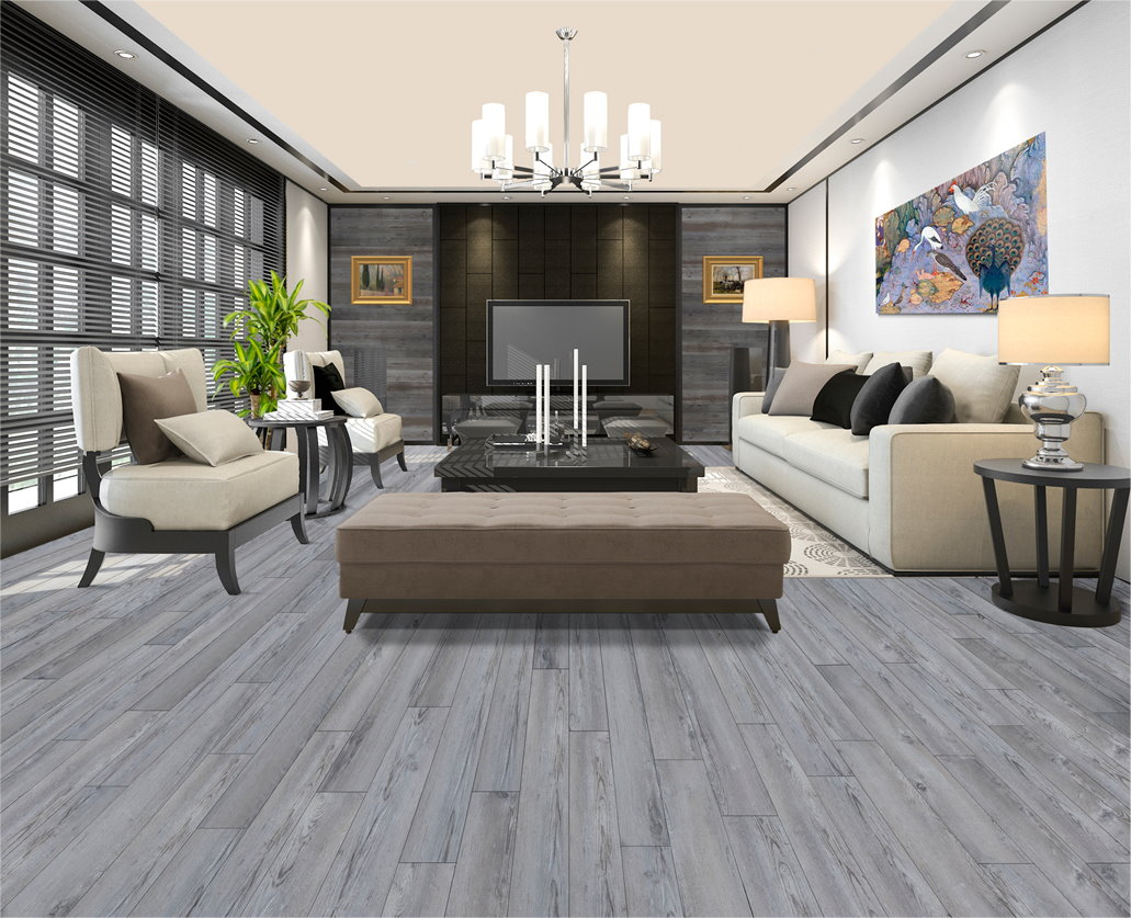View of a living room with antique driftwood floor
