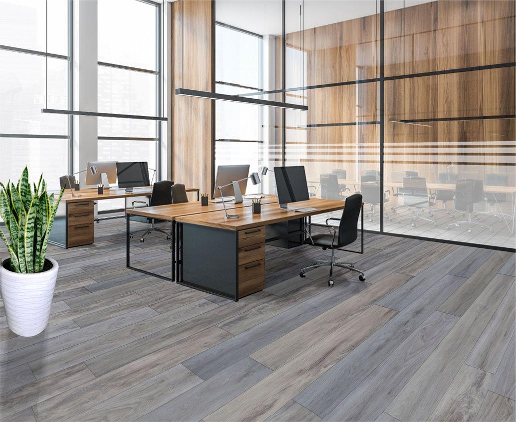 Work office with london mist floor